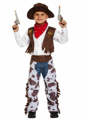 Cowboy Kinder Cowgirl  Western Komplett Kostüm Weste Hemd Chaps Hut Fasching
