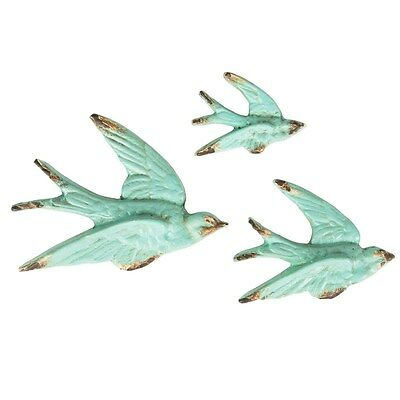 SET OF 3 BLUE FLYING SWALLOW WALL DECORATIONS SASS AND BELLE Shabby Chic Boho