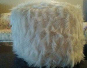 Image Is Loading Bella Lux Rare White Faux Fur Pouf Ottoman