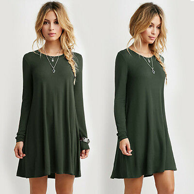 Women Sexy Long Sleeve Winter Cotton Loose Casual Solid Party Mini Flared Dress