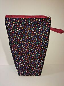 Quilted-Blue-Zipper-Bag-Size-9-034-x15-034-Side-Loop-6-034-Handmade-100-Cotton