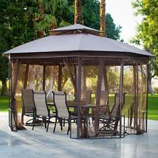 Octagon Gazebo 10 X 12 Canopy Steel Tan Outdoor Mosquitto Netting Curtain Patio