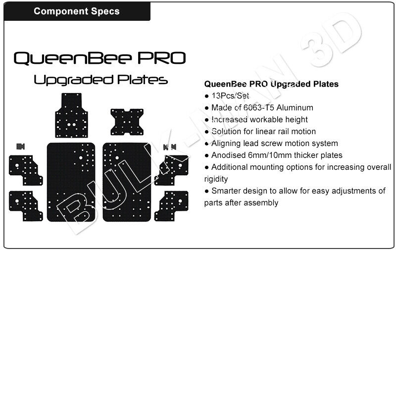 QueenBee PRO CNC Aluminum Plates Precise Laser Cutting Plate Set for Wood Router