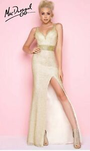 9292a075cd Image is loading MAC-DUGGAL-BEADED-LATTICE-WORK-MESH-GOLD-GOWN-