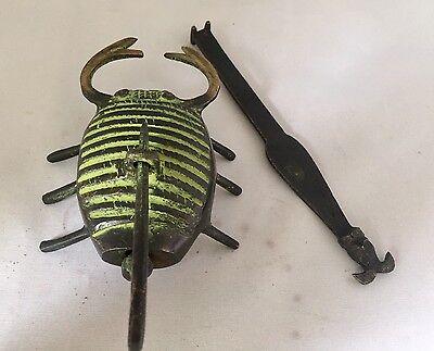 Scorpione Testa Serratura Grande Lucchetto Ottone Chiave Aspetto Antico