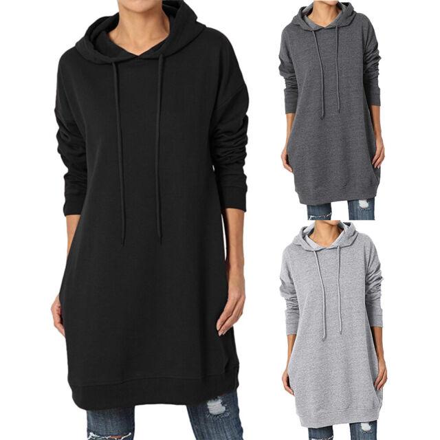 Loose Hoodies Dress Women Long Sleeve Jumper Sweatshirt Pullover Top Plus S-3XL