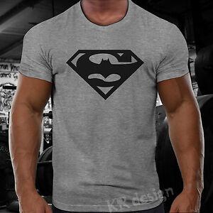 MAN Batman T-shirt GYM BODYBUILDING WOD Training Sport Workout Fitness ...