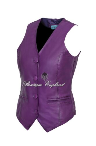 Ladies Purple Waistcoat Cool Casual Fashion Vest Soft Lambskin Leather 5701
