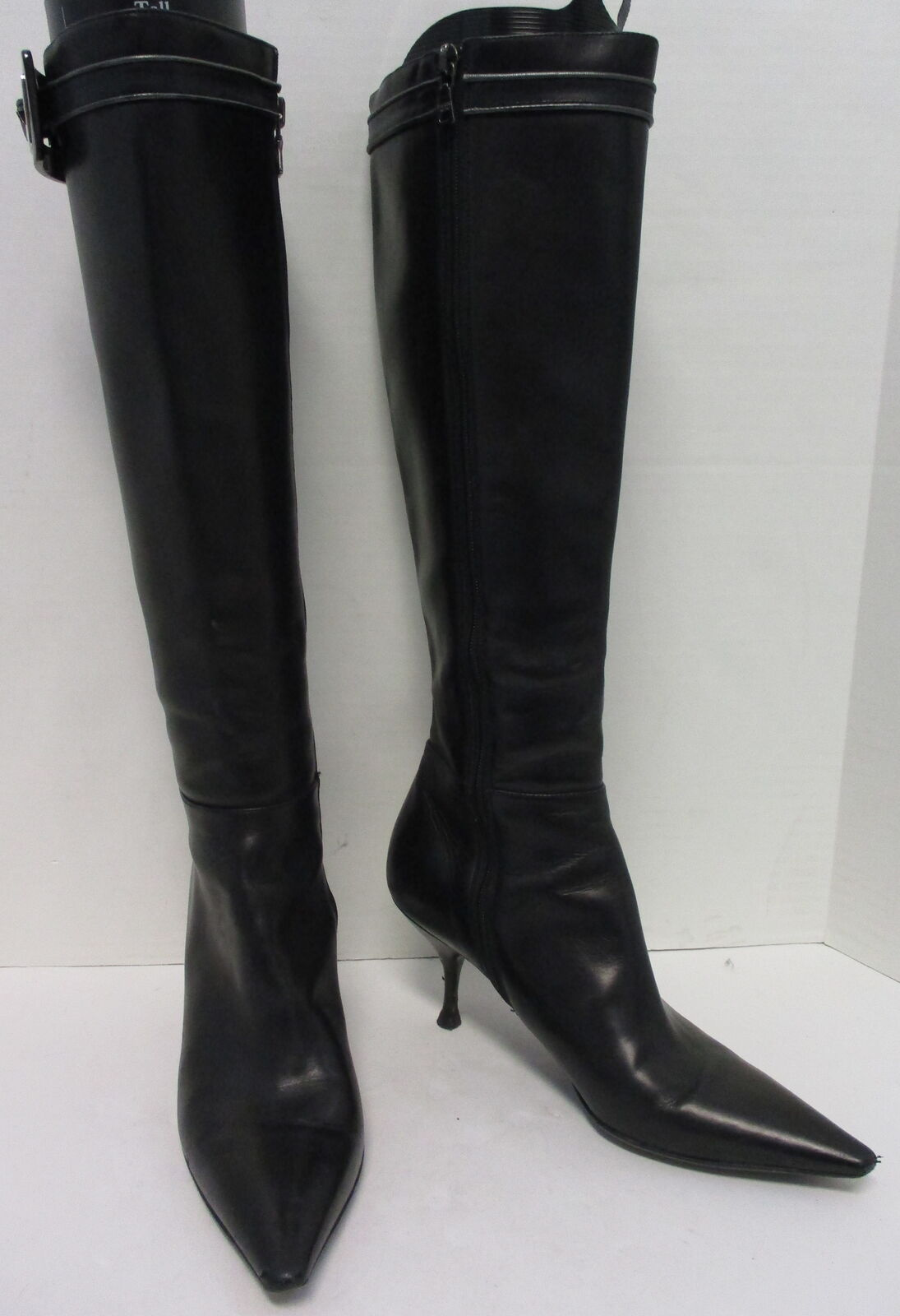 PRADA noir leather pointy toe mid slim heel buckle detail zip- up bottes sz 35