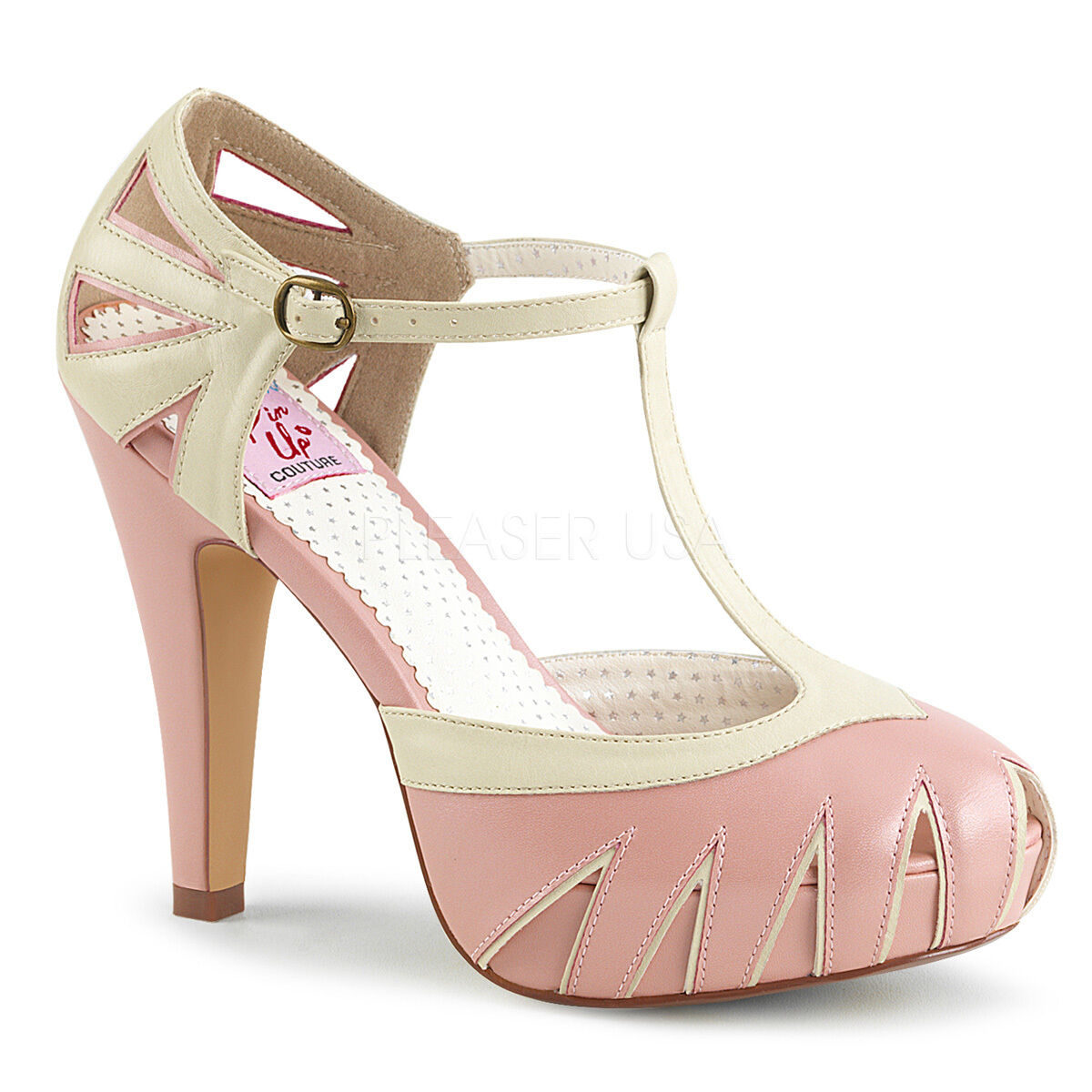 PINUP BETTIE-25 Sexy 4 1 2  Heel Pinup Retro Baby Pink T-Strap Pumps Women shoes
