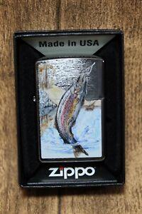 """Zippo - """" Saut D'Obstacles Truite """" Chrome Brossé l1PnGgKq-09160119-365647668"""