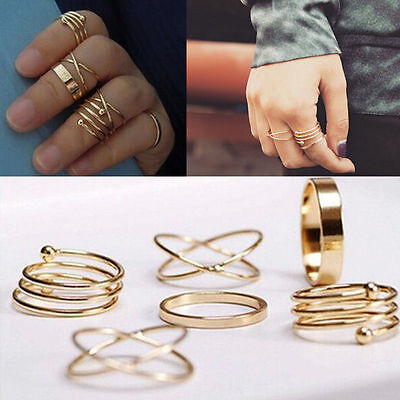 Fashion Jewelry Gold Plated Mini Mid Finger Tip Stacking Unisex Rings 6pcs/set