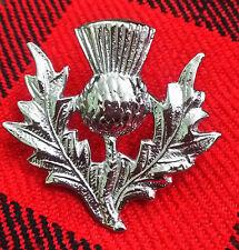 TC New Highland Thistle Cap Badge/Glengarry Cap Badge Pin Silver Chrome Finish