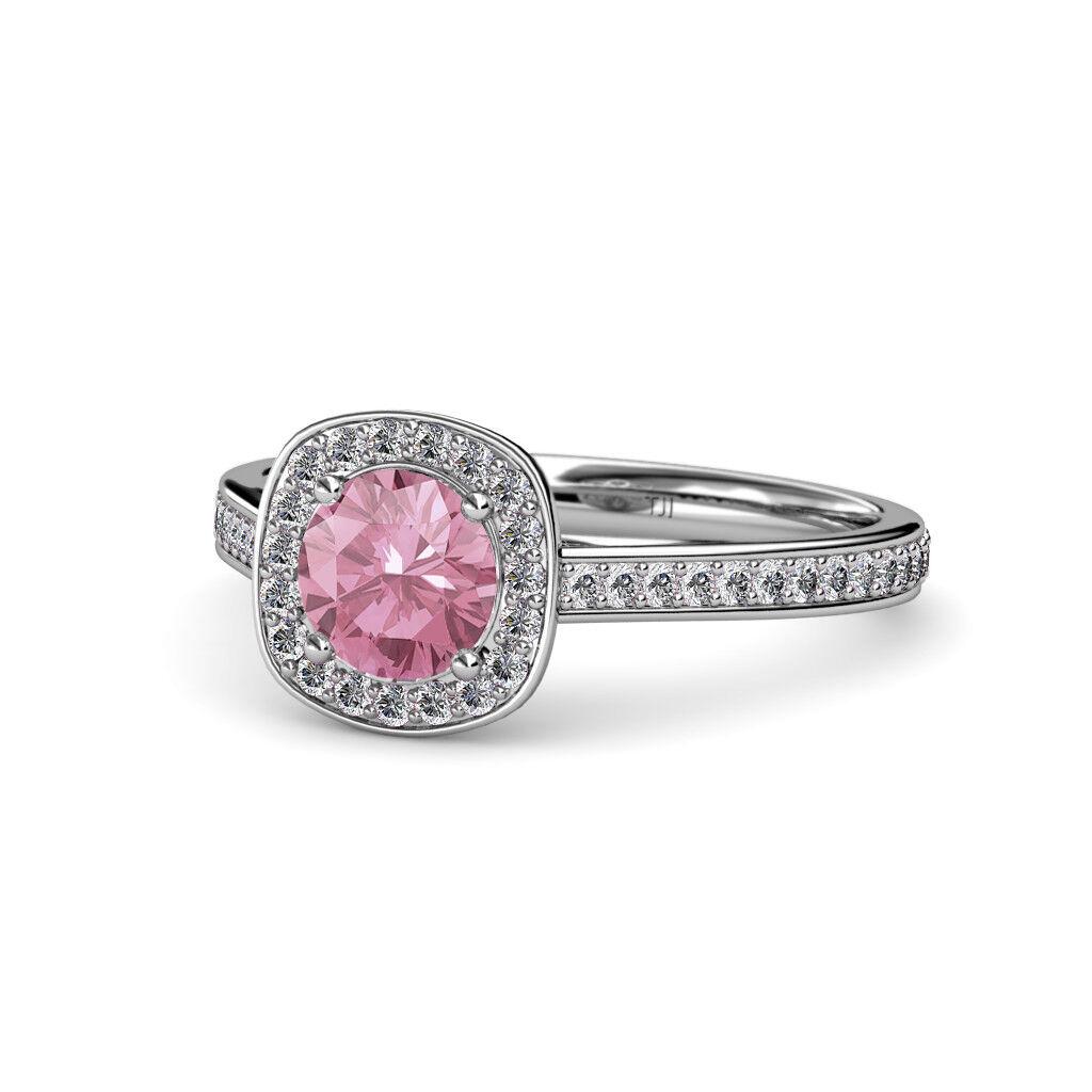 Pink Tourmaline & Diamond (SI2-I1, G-H) Halo Engagement Ring 1.23 ct tw 14K gold