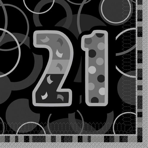 21ST Black Glitz Birhtday Party Supplies Decorations Tableware 18 items Free P+P