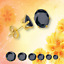 Nuevo Hermoso Negro Redondo Cortar Cz 14k oro cesta de acero inoxidable stud earrinngs