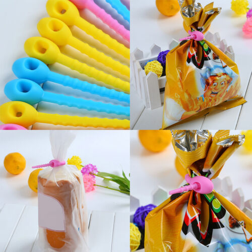 Multi Use Silicone Ribbon Retain Freshness Food Snack Sealing Bags Clips Sealer
