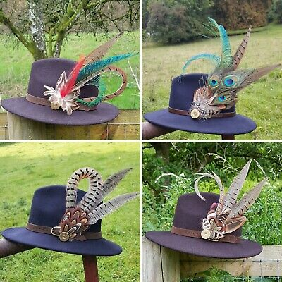 Country REEVES PHEASANT feather brooch buttonhole hat pin in SILVER filigree