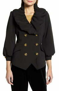 Halogen Womens Blazer Black Size 8 Ruffle-Collar Balloon-Sleeves $149 326