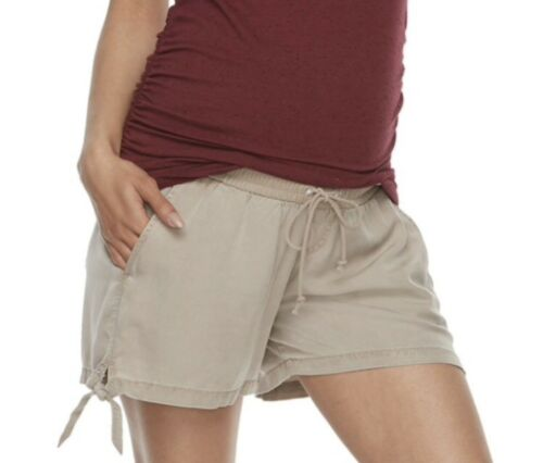 "Maternity a:glow Knot Hem Shorts Size X Large Khaki Tan 4/"" Inseam Rayon 4 Pocket"
