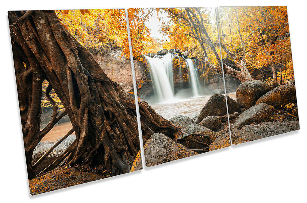 Waterfall Orange Sunset Picture CANVAS WALL ART TREBLE Print