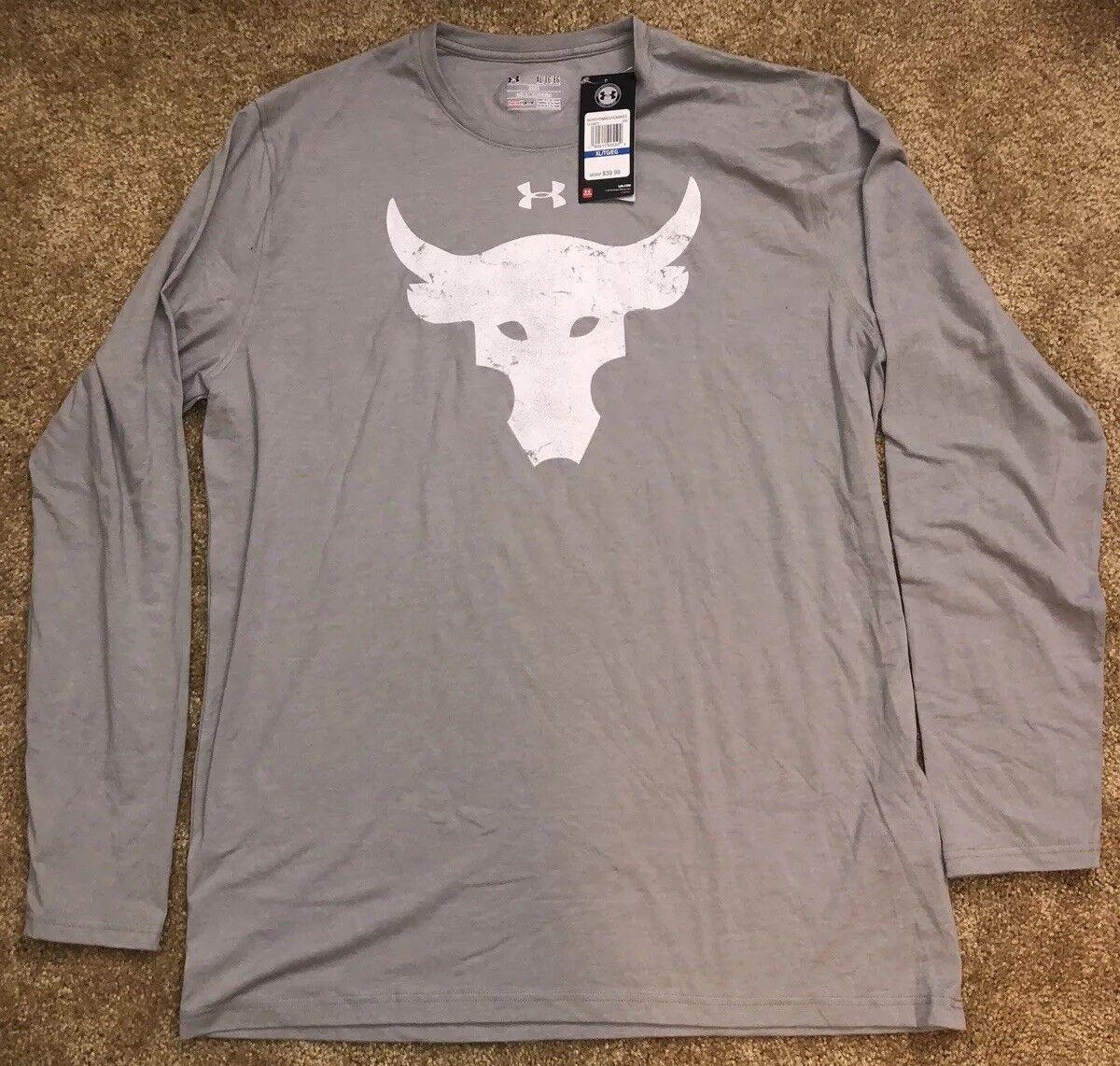Under Armour Project Rock Brahma Bull Gray Long Sleeve T-Shirt Size Medium