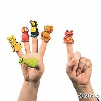 12 Rain Forest Zoo Jungle Finger Puppets Kids Birthday Party Favors Toys Gifts