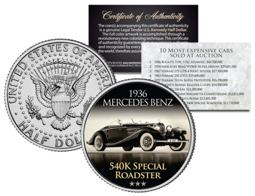 1936 MERCEDES BENZ Expensive Auction Car JFK Half Dollar Coin SPECIAL ROADSTER