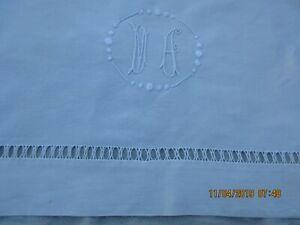 Drap-ancien-En-Lin-amp-Coton-Monogramme-MA-202-x-280-cm