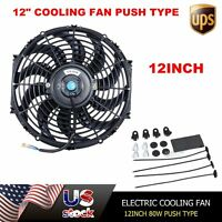 Electric Curved S-blade 12 Inch Radiator Cooling Fan Push W/ Mounting Kit