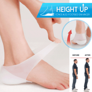 Concealed Footbed Enhancers Invisible Height Increase Silicone Insoles Pads f