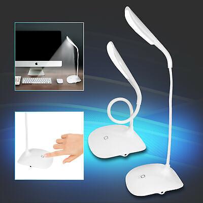 Wei/ß HandAcc Wiederaufladbare LED Schreibtischlampe mit Schwanenhals Touchfunktion 3W Energiesparend Dimmbar Flexibel Die Basis Leselampe