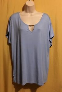jaclyn smith women s blue sky plus stretch keyhole doman top size xl