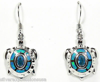 London Blue Topaz & Blue Fire Opal Inlay 925 Sterling Silver Turtle Earrings