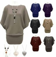 NEW LADIES BATWING SLEEVE WOMENS JUMPER DRESS TOP WITH NECKLACE SIZE 8 10 12 14