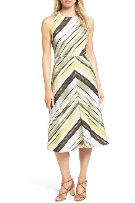 Classiques Entier Ikat Stripe A-Line Stretch Silk Dress (US4)