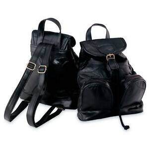 Image Is Loading Womens Lambskin Leather Backpack Purse Small Black Bookbag