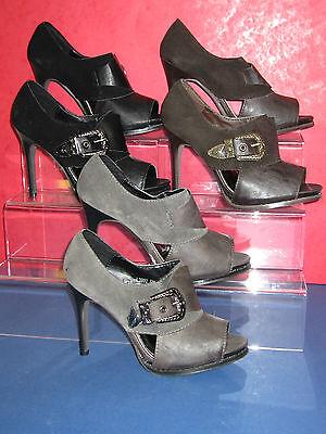 Venta señoras Tobillo altos Zapatos Peep Toe de hebilla de estilo occidental Negro Gris marrón