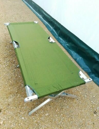 UNISSUED British Army Heavy Duty Folding Cot Camp Bed Fishing Camping Festival