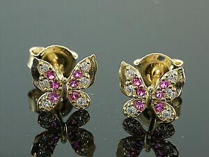 585-Gold-Ohrstecker-Schmetterlinge-Groesse-6-5-x-7-3-mm-Groesse-mit-Rubin-1-Paar