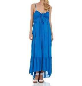 e709b311f4b Image is loading Free-People-Blue-Knot-Accented-Maxi-Dress-Sz-
