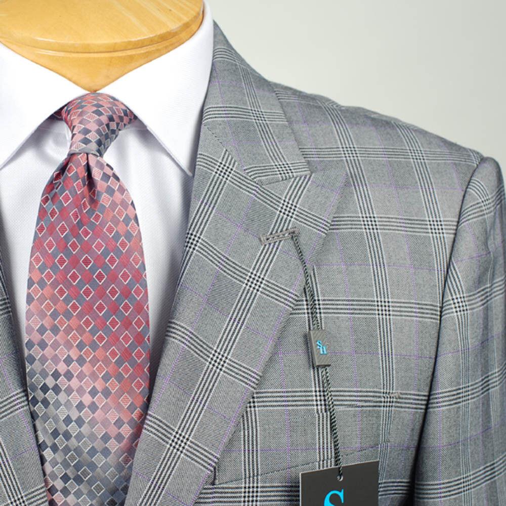 42L STEVE HARVEY Grau Plaid SUIT SEPARATE  42 Long  Herren Suits - SS42