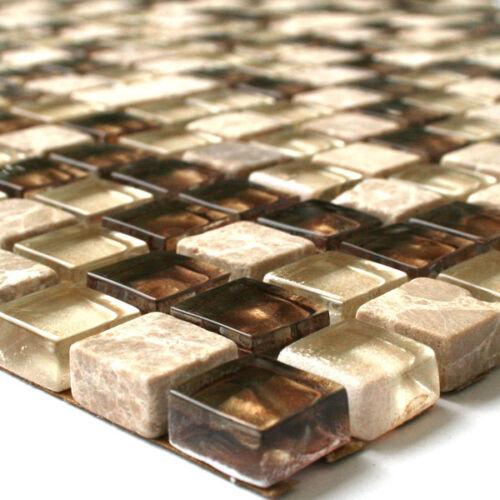 Glasmosaik Fliesen Marmor Mosaik Braun 15x15x8mm Glas Glasfliese Glasfliesen