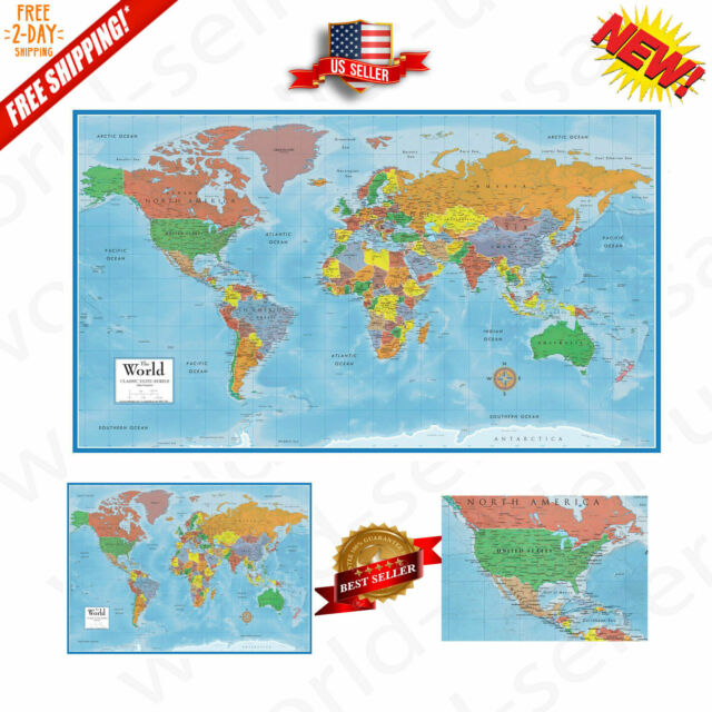 World Map Classic Huge Large Wall 24x36 Poster Home Office School