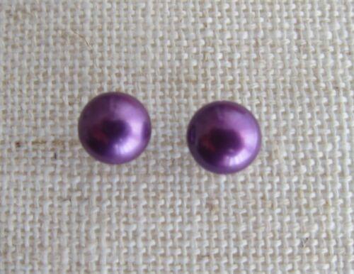Aretes Plata Perla Cultivada-violeta 8//9 mm púrpura o lila \ Lavanda