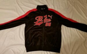 Details about PUMA X FUBU JACKET MENS SZ XL BLACKRED SUEDE VELOUR TRACK FUBUPUMA JACKET