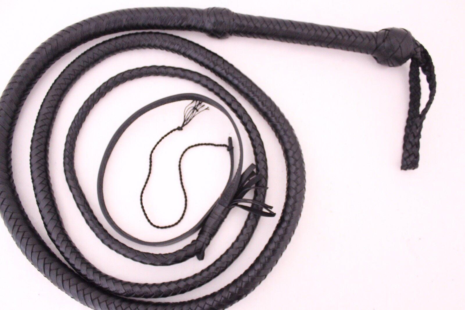 Látigo de toros 8 pies, Genuino Cuero Vaca, 12 trenzas, calidad de servicio pesado látigo de toros