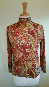 Vintage-60-039-s-Mod-Psychedelic-Long-Sleeve-Turtleneck-Top-Paisley-Go-Go-Red-Gold