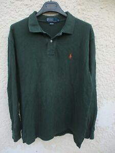 Polo-by-RALPH-LAUREN-vert-fonce-logo-orange-shirt-manches-longues-L