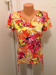 Women-039-s-Caribbean-Joe-Island-Petite-S-shirt-V-neck-Polo-Floral-Pink-Yellow